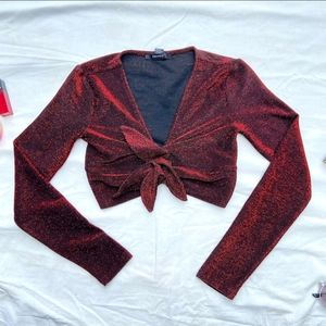 Red shimmer front Bunched Top